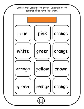 Color Words Printable Tablets