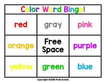 Color Words Bingo