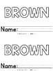 Color Words - Brown Emergent Reader