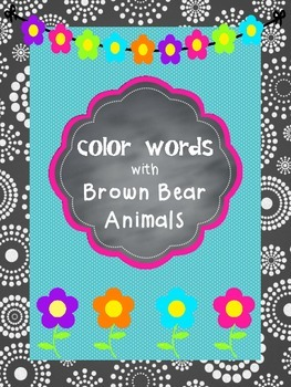 Color Words Charts Posters Display Brown Bear Friends