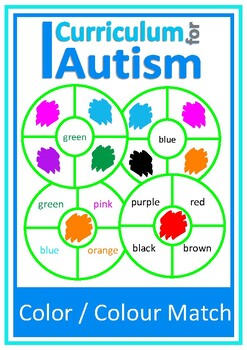 Autism, Color Clip Cards, Special Education, Speech Therap