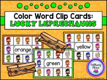 Color Words Clip Cards - Lucky Leprechaun {Freebie}