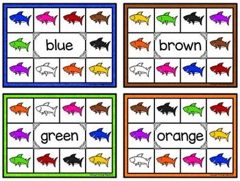 Color Words Clip Cards - Sea Life