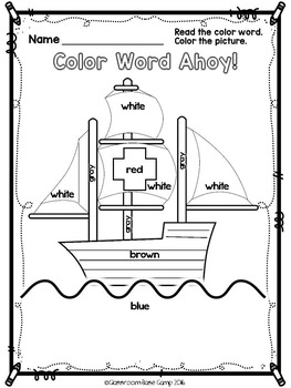 Color Words - Coloring Pages for October