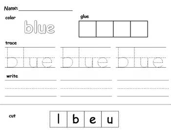 Color Words: Cut, Glue, Trace and Write!