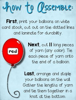 Color Words Display --- Bright Balloons Color Word Signs