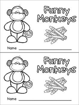 Color Words Emergent Reader- Kindergarten- Funny Monkeys