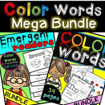 Color Words {Emergent Readers AND worksheets}