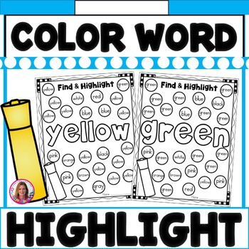 Color Words Find, Color, and Highlight (11 Color Words Included)