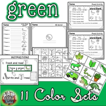 Color Words: GREEN {sight words, simple sentences, vocabulary, writing}
