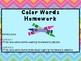 Color Words Homework