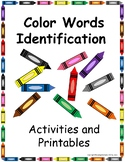 Color Words Identification Activities and Printables