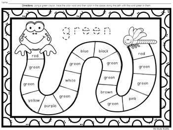 Color Word Worksheets For Kindergarten