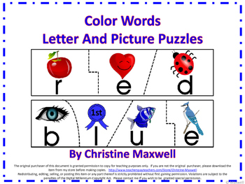 Color Words Letter and Picture Spelling Puzzles