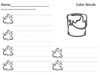 Color Words Literacy Center