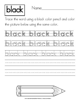 Color Words: Manuscript Handwriting Practice