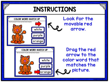 Color Words Matching Activity for Google Drive and Google Classroom - Cats