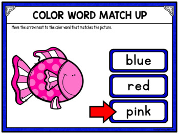 Color Words Matching Activity for Google Drive and Google Classroom - Fish