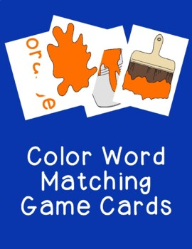 Color Words Matching Cards Games Activities PDF Printable Word Identification