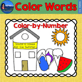 Color Words Math Practice End of Year Color by Number