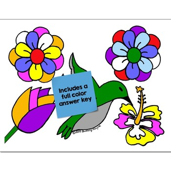 Color Words Math Practice May Flowers Color by Number