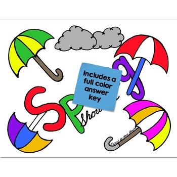 Color Words Math Practice Spring Showers Color by Number