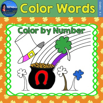 Color Words Math Practice St. Patrick's Day Color by Number
