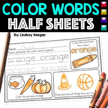 Color Words Half Sheets or Mini Book