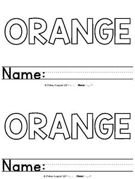 Color Words - Orange Emergent Reader