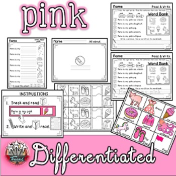Color Words: PINK {sight words, simple sentences, vocabulary, writing}