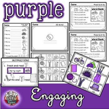Color Words: PURPLE {sight words, simple sentences, vocabulary, writing}