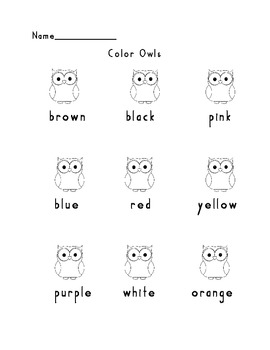 Word Work/Color Words Packet
