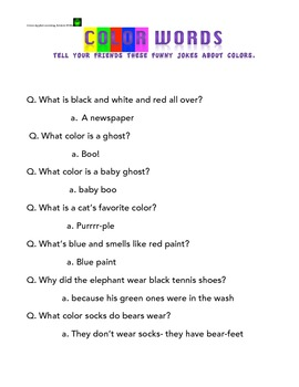 Color Words Packet- jokes, scrambled words, write sentence
