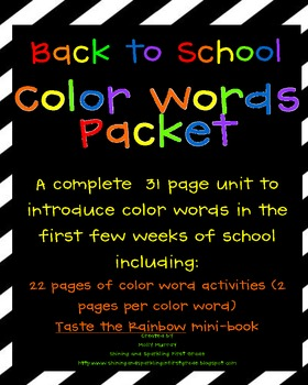 Color Words Packet of Fun
