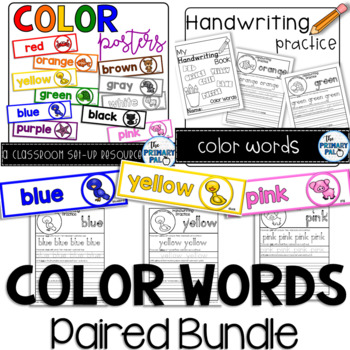 Color Words Paired Bundle: Handwriting Practice and Posters