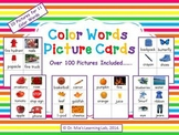 Color Words Picture Cards (10 colored picture cards for 11 color words)