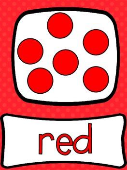 Color Words Poster Set Polka Dot Theme