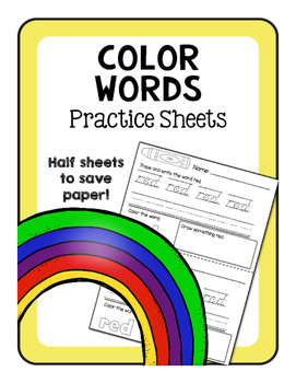 Color Words Practice Sheets- D'Nealian