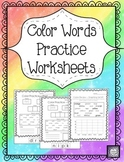 Color Words Practice Worksheets