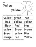 Color Words Practice Worksheets Printables with Lesson Plans