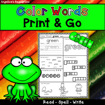 Color Words :  Sight Words, Printing, Reading, Writing, Morning Work