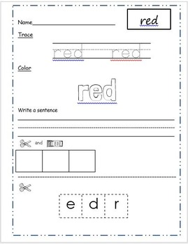Color Words: Read, Trace, Color, Write and Cut