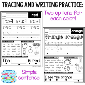 Color Words {Reading and Writing Practice- Color Words Posters}