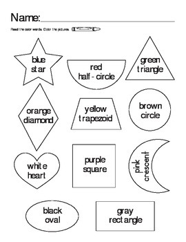 Color Words & Shapes Coloring Page