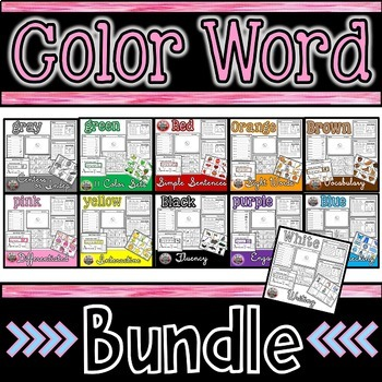 Color Words Bundle: Sight Words, Simple Sentences, Writing, and Fluency