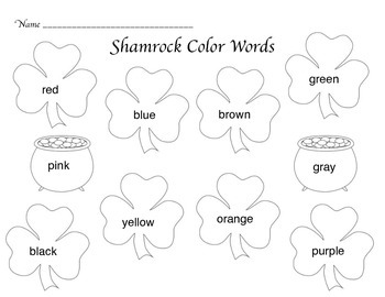 Color Words St. Patrick's Day