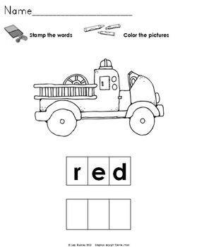 Color Words Stamp and Write the Room Centers