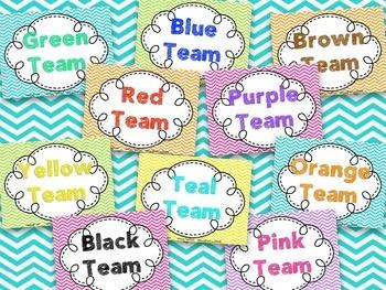 Color Words Team Signs {Chevron Brights}