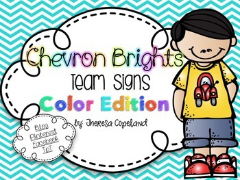 Color Words Team Signs {Chevron Brights}