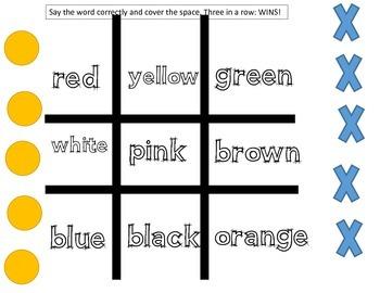 Color Words Tic Tac Toe